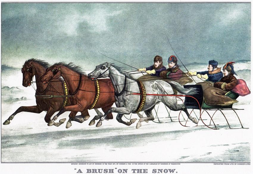 "Currier & Ives captured many popular pastimes in the mid 1800s and here picture a race between two sleighs titled, ""A 'Brush' on the Snow."""