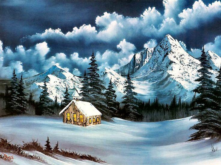 Bob Ross Paints Christmas Eve Snow