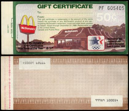McDonalds Gift Certs