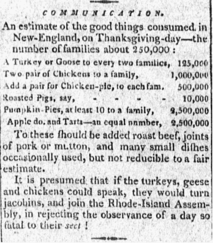 Thanksgiving by the Numbers 1801