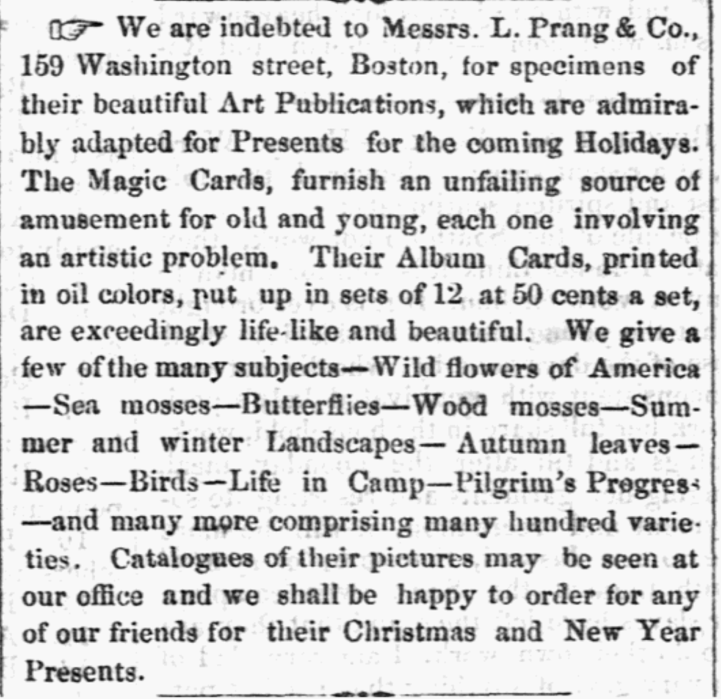 Christmas Cards from Louis Prang