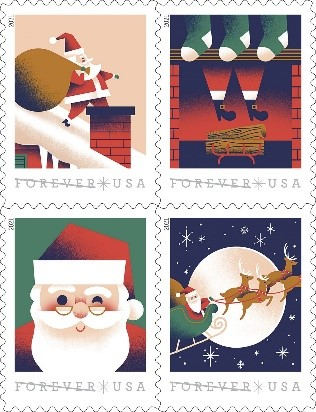 Christmas Stamps - A Visit from St. Nick