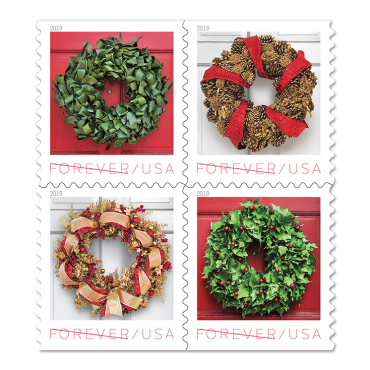 Christmas Stamps -holiday wreath