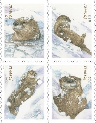 Christmas Stamps - Otters in the Snow